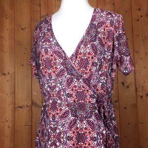 Bobbie Brooks Paisley Print Surplice Wrap Dress 1X